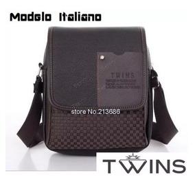 Bolsa De Ombro Executivo Em Couro Twins Modelo Italiano
