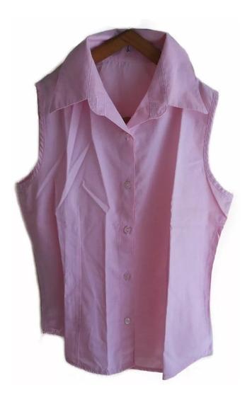 Blusa Musculosa Camisa Sin Mangas Mujer Usada Rosa Liso T. S