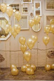 Balão Bexiga Joy Top Látex Nº 8 Metalizado Dourado 50 Unid.
