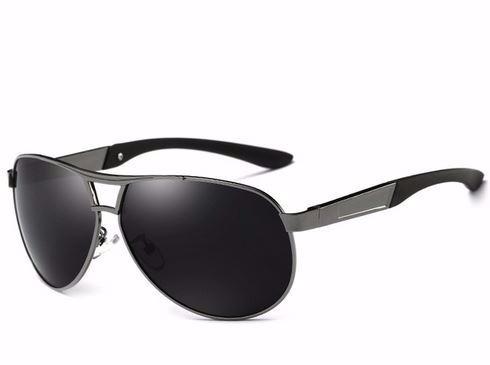 Óculos De Sol Aviador Polarizado Uv400 Hdcrafter - Cinza §