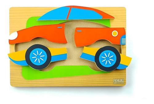 Imagen 1 de 2 de Rompecabezas Auto 5 Piezas De Madera Juego Pipikuku