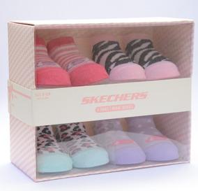 Kit 6 Meias Sapatinhos Bebê Skechers Embalagem Presenteável