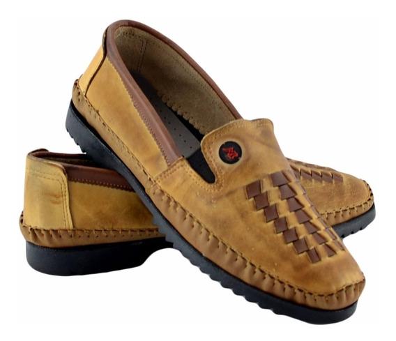 Sapato Masculino Couro Blaqueado Sola Borracha Marrom Tran