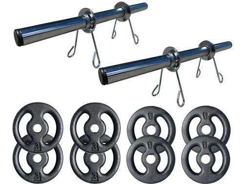Imagem 1 de 7 de Kit 20kg Com Barras E Anilhas P/ Musculação Halter + Brinde