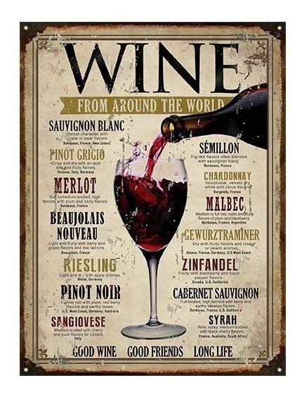 Cartel De Chapa Vintage Retro Wines Vinos M341