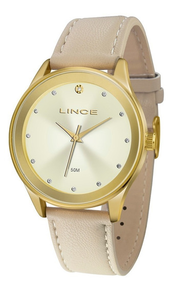 Relógio Lince Feminino Lrcj090l C1tx Dourado Couro Nude