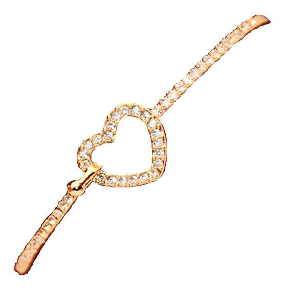 Bracelete Pulseira Feminina 15 Anos Coração Cristais C292