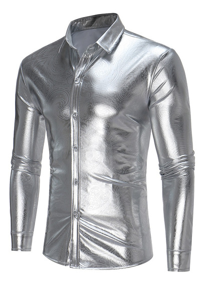 Camisa Abotonada Zt-cs09 Metálica Estampa De Cachemir
