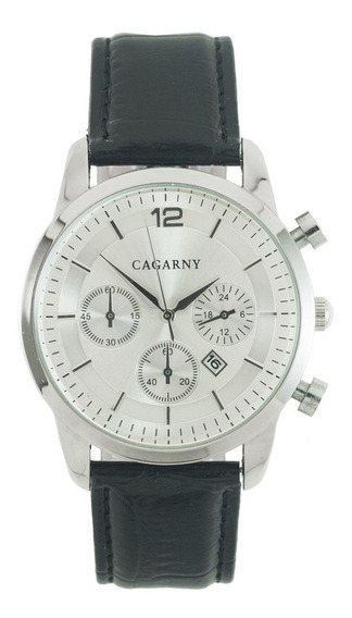 Reloj Cagarny 240 De Piel Negro Con Blanco Para Caballero