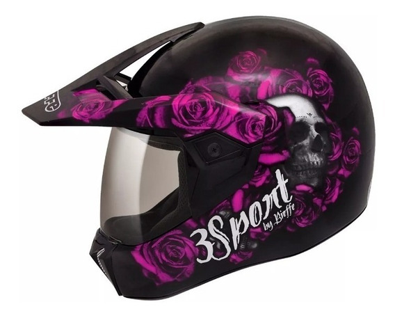 Capacete Moto Feminino Bieffe 3 Sport Caveira Fortress Rosa