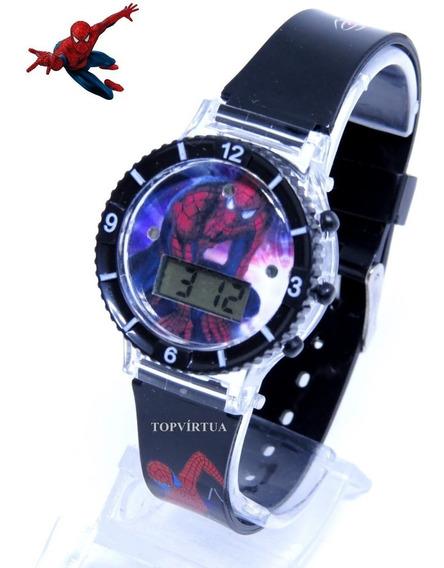Relógio Homem Aranha Digital 3d Som Luz Preto Barat Original