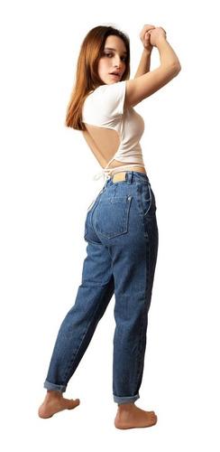 Jean Pantalon Mujer Mom Slouchy Rigido