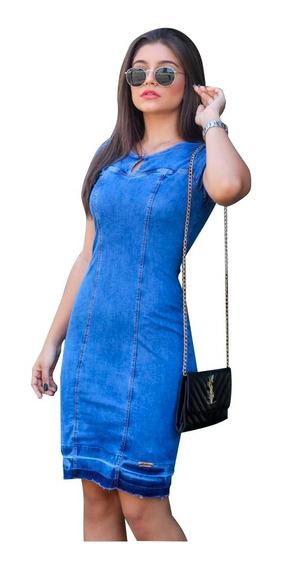 Vestido Jeans Feminino, Roupa Evangélica (ref 1059)