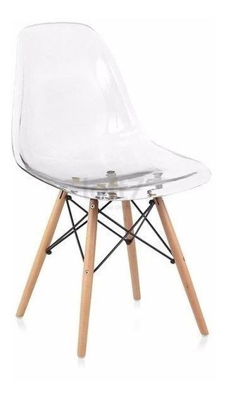 Cadeira Charles Eames Wood Transparente + Nf