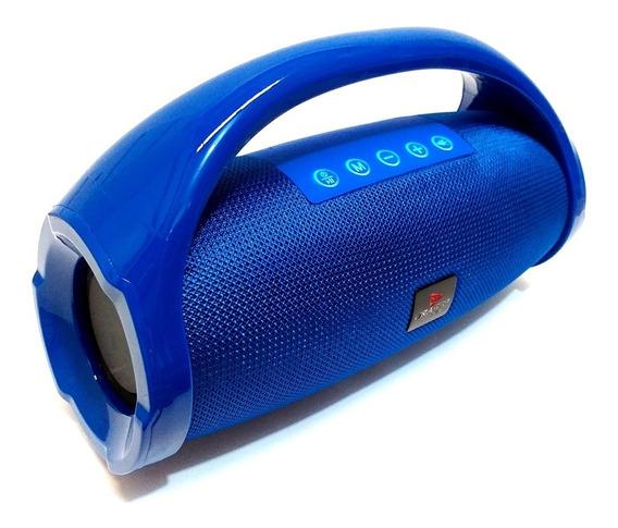 Caixa Som Portátil Bluetooth Usb Fm Mp3 Amplificada - Azul