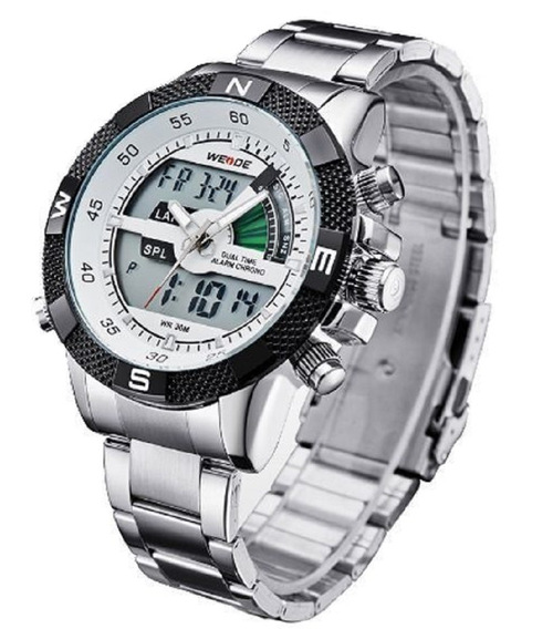 Relógio Masculino Weide Anadigital Prateado Branco Original