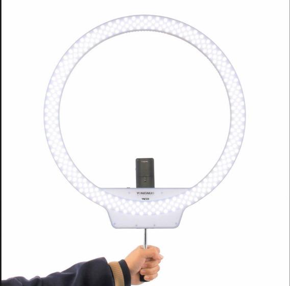 Ring Light Led Yongnuo 308 + Fonte + Tripé Reclinável