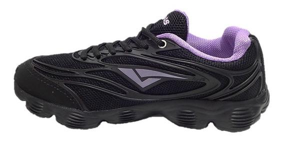 Tênis Feminino Caminhada Bouts Preto/violeta S/ Frete 004403