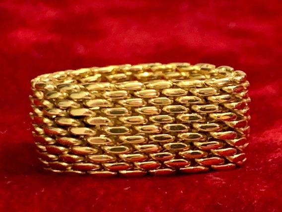 Anel Tiffany De Ouro Amarelo , Estilo Malha , 12x S/juros