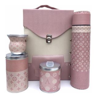 Set Matero Maletin Louis Vuitton Rosa Mujer Ecocuero Regalo