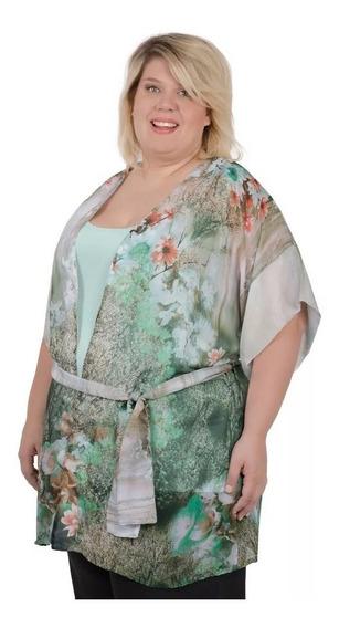 Kimono Portofem De Gasa Estampada - Talles Grandes