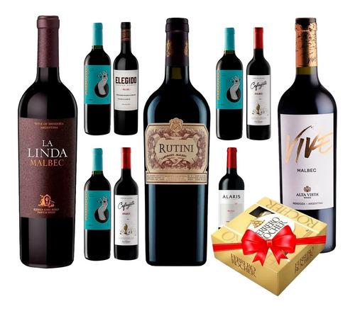 Imagen 1 de 9 de Combo X10 Vinos Malbec Seleccionados + Ferrero Rocher