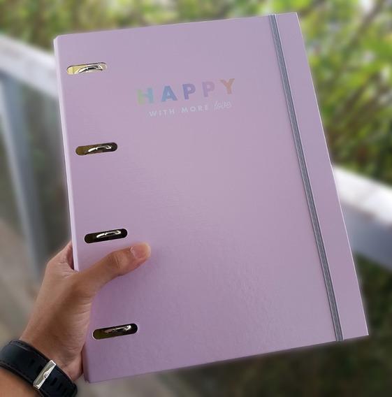 Caderno Fichário Argolado Tilibra Com Elástico Happy