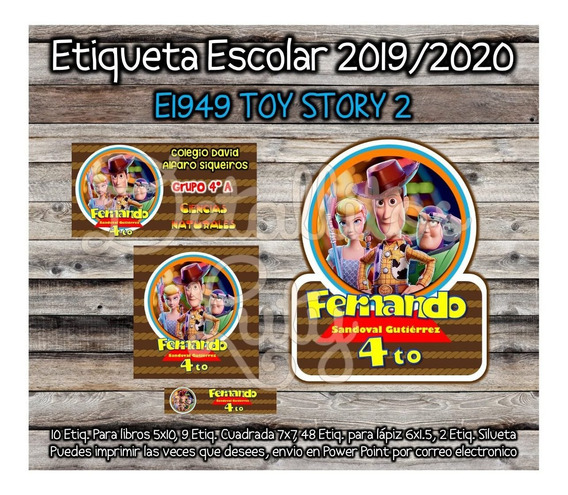 Kit Imprimible Etiqueta Escolar E1949 Toy Story 2