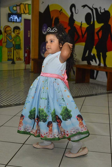 Vestido De Festa Aniversário Infantil Moana Princesa Disney