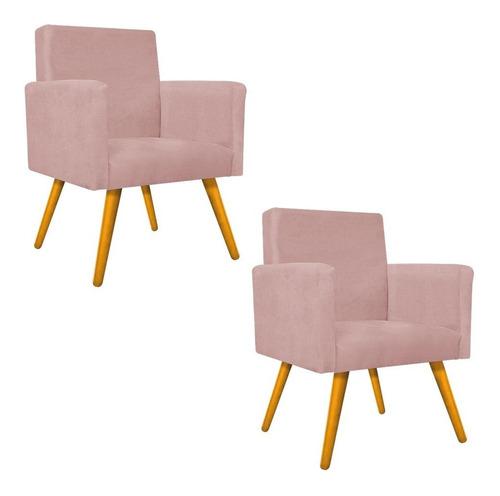 Imagem 1 de 8 de Kit 02 Poltrona Cadeira Beatriz Decorativa Consultório Rose