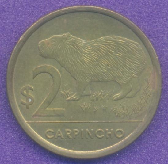 Moneda Uruguay 2 Pesos 2011 Carpincho