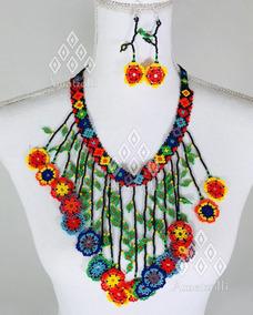 Juego De Collar Pulsera Y Aretes Huicholes De Chaquira