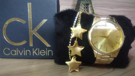 Kit Relógio Feminino Lindo Da Ck Frete Gratis