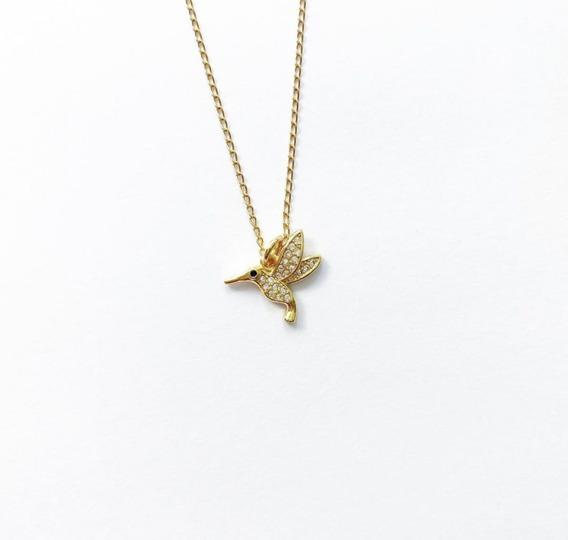 Collar Colibri Con Zirconias Chapa De Oro Regalo