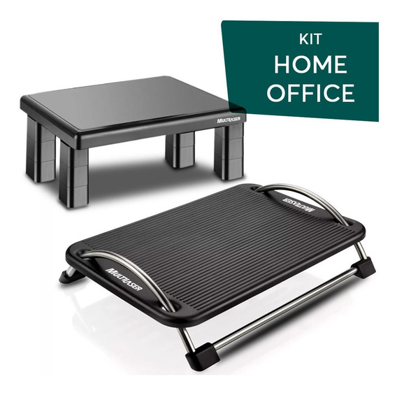 Kit Home Office Apoio Descanso Pé + Suporte Monitor Pc
