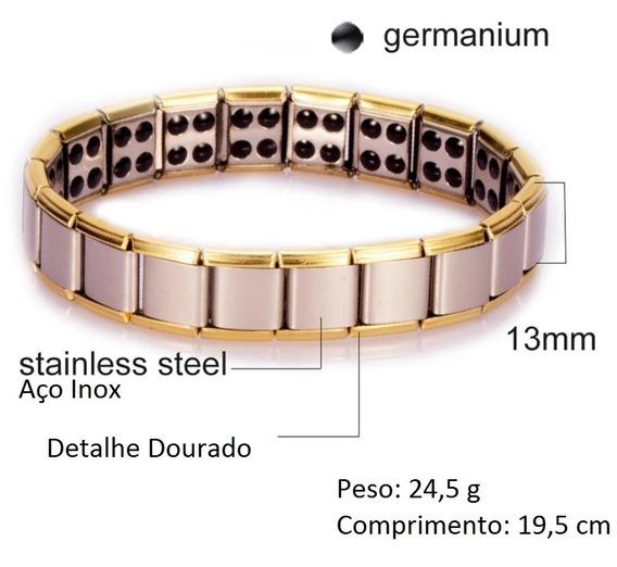 Pulseira Magnética Aço Inox Detalhe Dourado Terapia + Saúde
