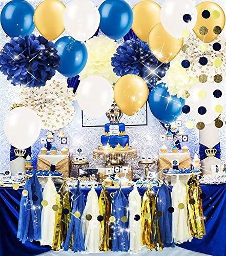 Royal Pince Baby Shower Decoraciones / Azul Marino Dorado De