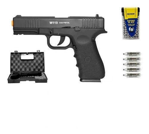 Imagem 1 de 5 de Pistola Airgun Co2 Wg Glock W119 - 4,5mm Blowback Metal