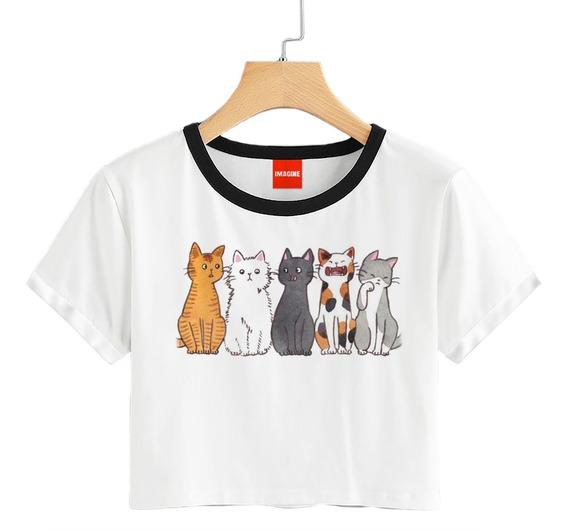 Blusa Dama Gatos Gatitos Animales Playera Crop #741