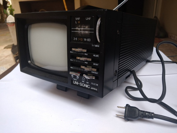 Antiga Tv Portátil Uni-sonic Us-501 Preto E Branco