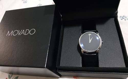 Relógio Movado Museum Blue Dial Swiss Made Quartzo.