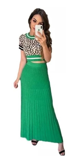Conjunto Blusa Cropped + Saia Longa Verde