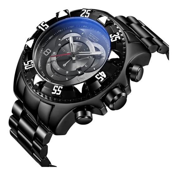 Relógio Temeite Masculino Grande Pesado Luxo, A Prova D Água