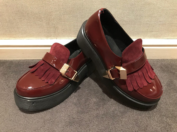 Zapatos Febo Charol Bordo Talle37 Una Sola Puesta Como Nuevo