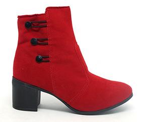 bf1f0e6a0 Bota Vermelha Com Botoes Camurca Feminino Botas - Calçados, Roupas e ...