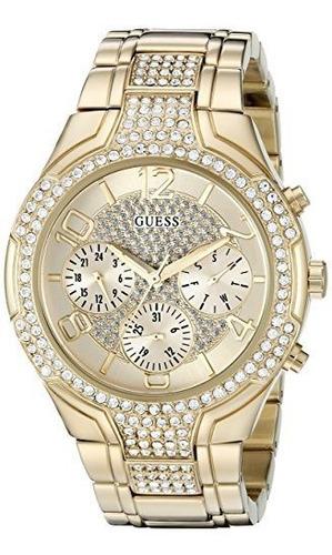Reloj De Vestir Guess Gold-tone Glitzy Sport