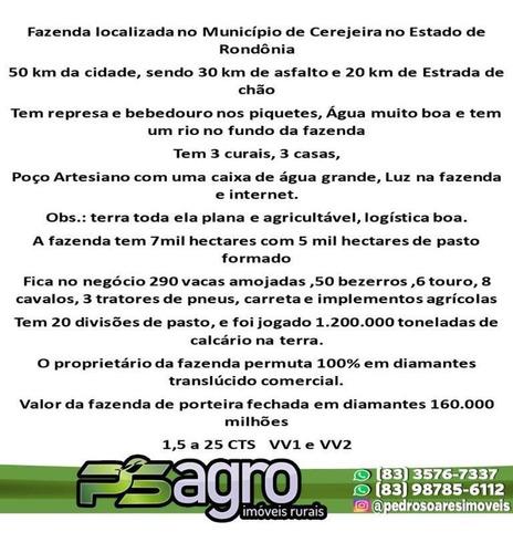 Imagem 1 de 2 de Fazenda À Venda, 70.000 Por R$ 160.000.000 - Chacaras Setor Quatro - Cerejeiras/ro - Fa0057