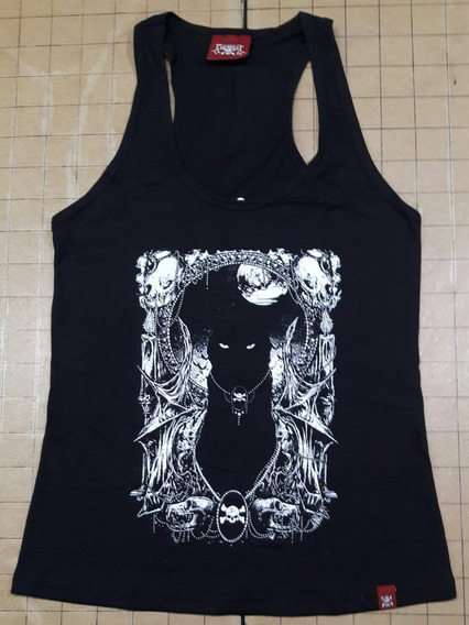Camiseta Cat Black Feminina Plus Size Regata Chemical Cfzr