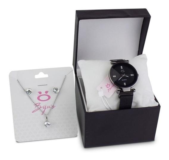 Kit Relógio Feminino Colar Brinco Pulseira Magnética - Rmm16