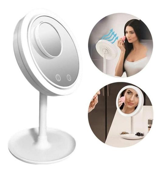 Espelho Maquiagem Led Ventilador Touch Screen Beleza Usb Iluminador Portátil Ou A Pilha A A + Mini Espelho De Aumento 5x